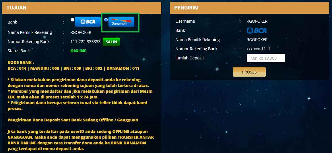 Tampilan menu deposit alternatif versi WEB
